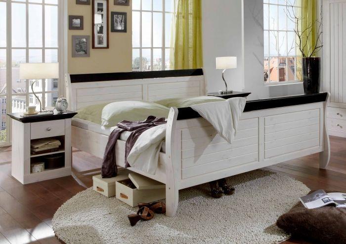 MONACO Bett white wash/wenge 140 x 200 Massivholzmöbel Pinterest