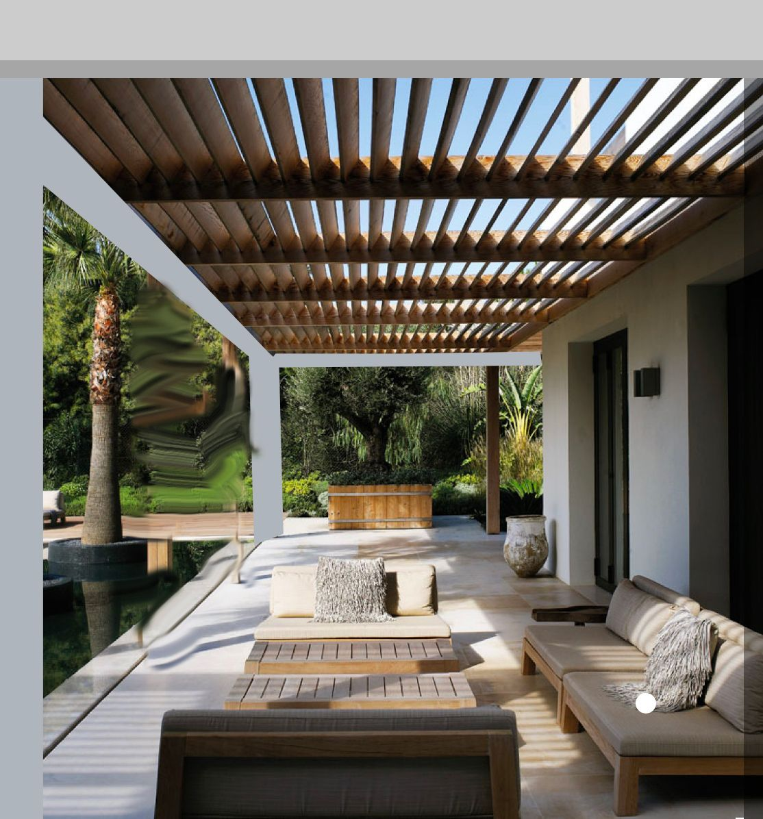 Pergola Ceiling Designs: White Conrete Frame With Wood