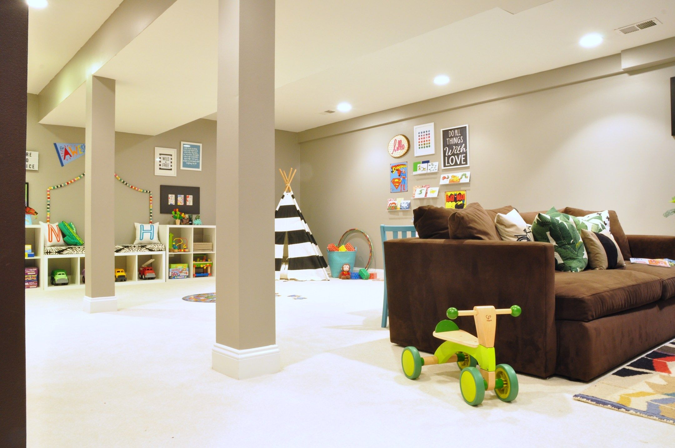 Before And After Our Basement Playroom Tv Room Reveal Living
