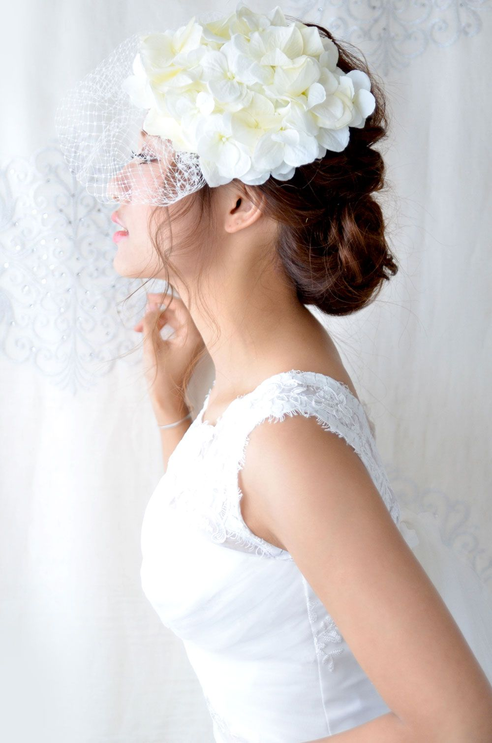 ヘッドドレス 髪飾り ウェディングハット フルール ド フルール