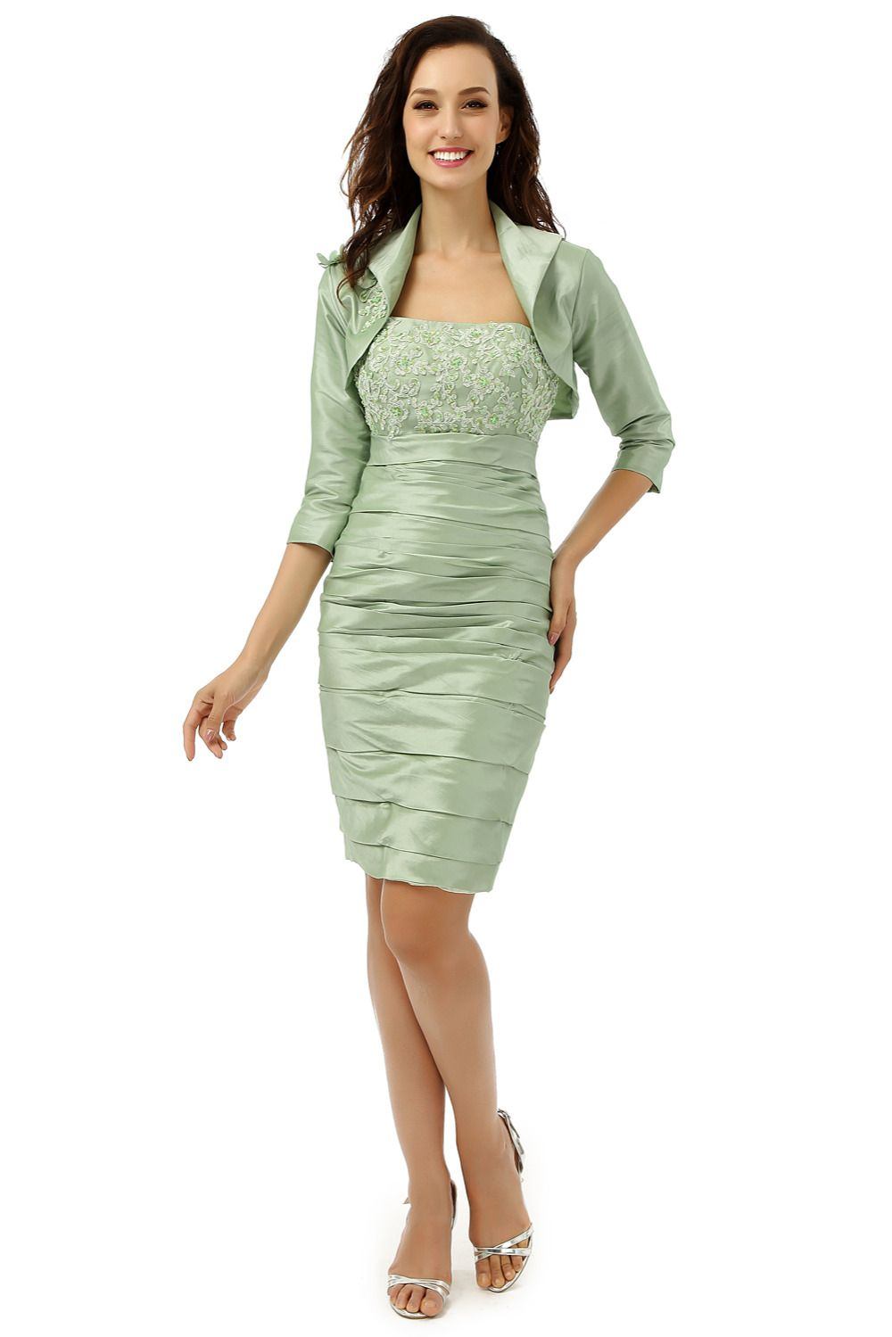 Mother of the bride dresses with jacket vestido de madrinha lace