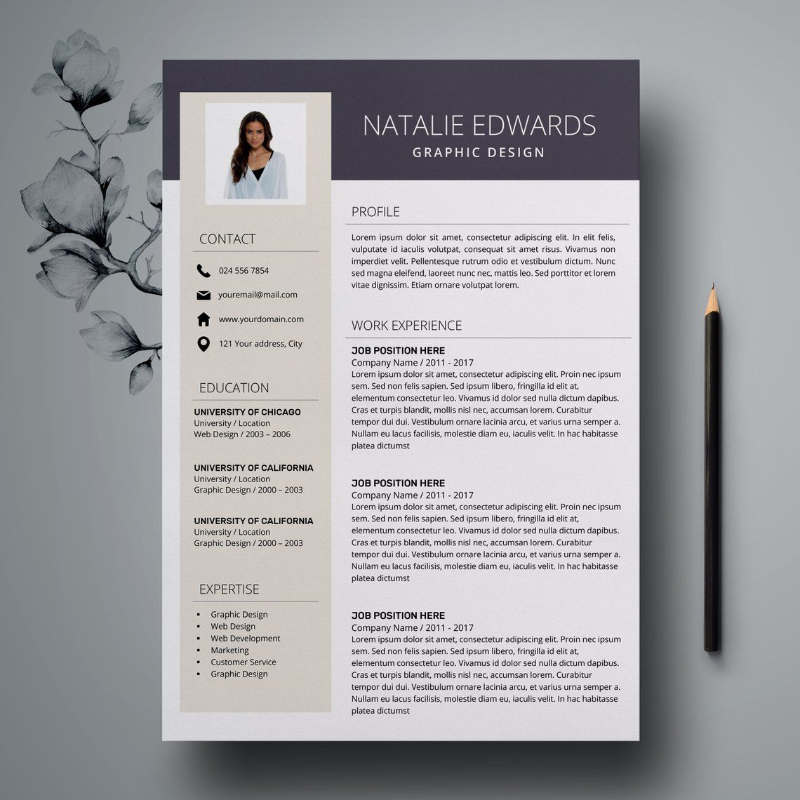 resume template instant download word easy cv template