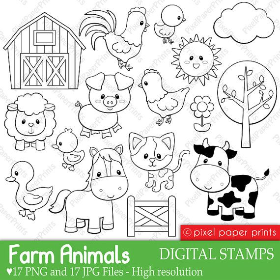 Farm Animals Digital Stamps Risunki Dlya Raskrashivaniya