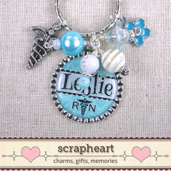 RN PERSONALIZED Name Key Ring Caduceus NP Key by ScrapheartGifts