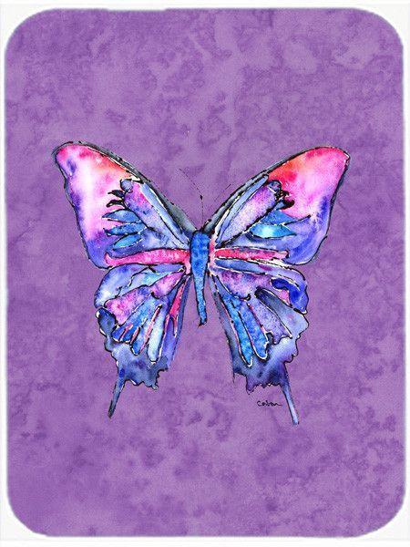 Butterfly on Purple Glass Cutting Board Large