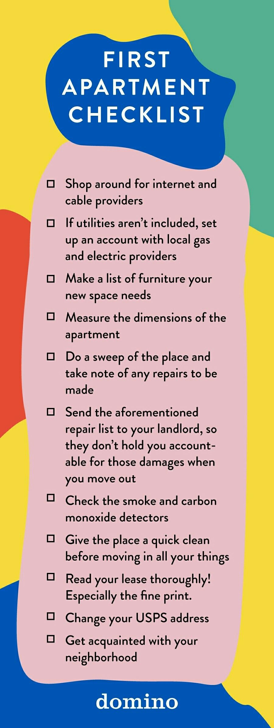 First Apartment Checklist - What To Know Before Moving In ...