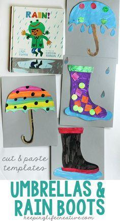 Rainy Day Umbrella And Rain Boot Craft Spring Speech Rain Crafts