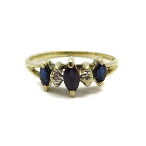 10k Gold Sapphire Diamond Ring Vintage Estate Wedding Antique Engagement Rings Vintage Sapphire Vintage Gold Rings