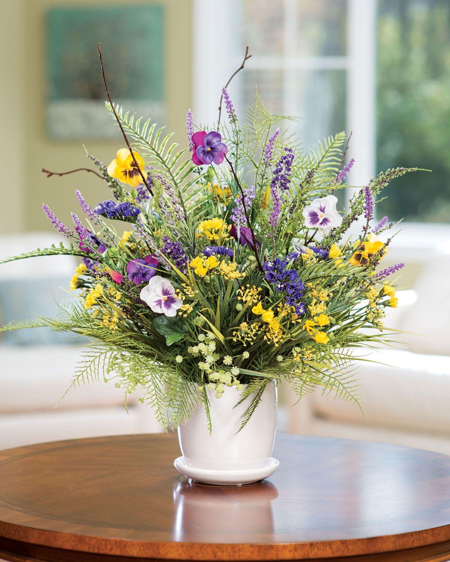 Pansy Pastimesilk Flower Arrangement Artificial Flower Arrangements Flower Arrangements Spring Floral Arrangements
