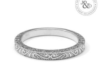 This Classic Vintage Antique Style Scrolls Wedding Band Is Beautifully Hand Crafted In White Gold And Features A Romantic Engraved