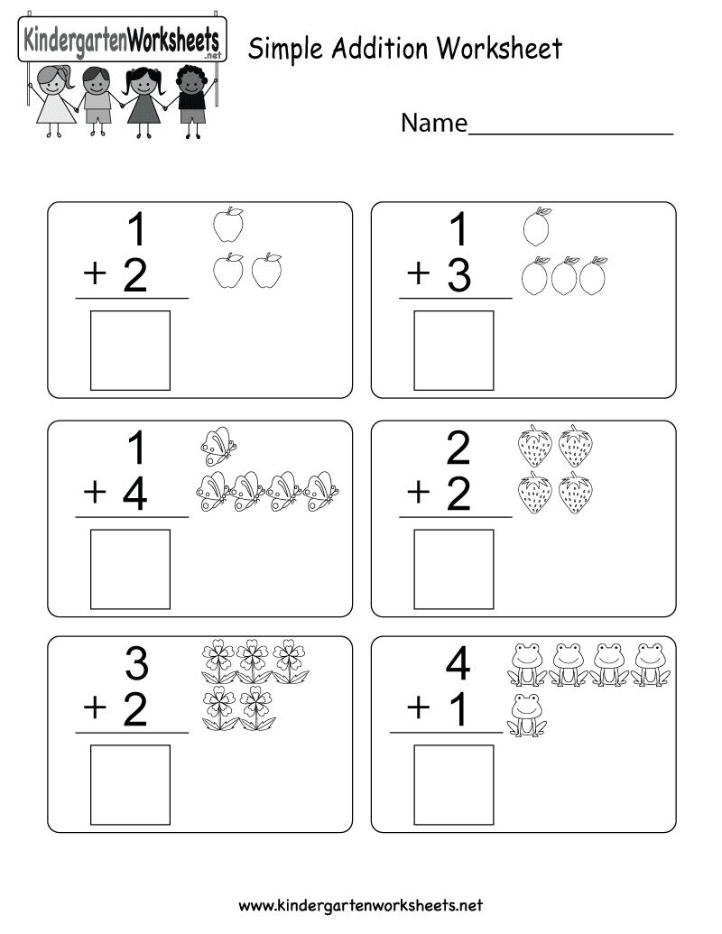 Simple Addition Worksheets For Kindergarten With Pictures Kindergarten Math Worksheets Addition Math Addition Worksheets Easy Math Worksheets