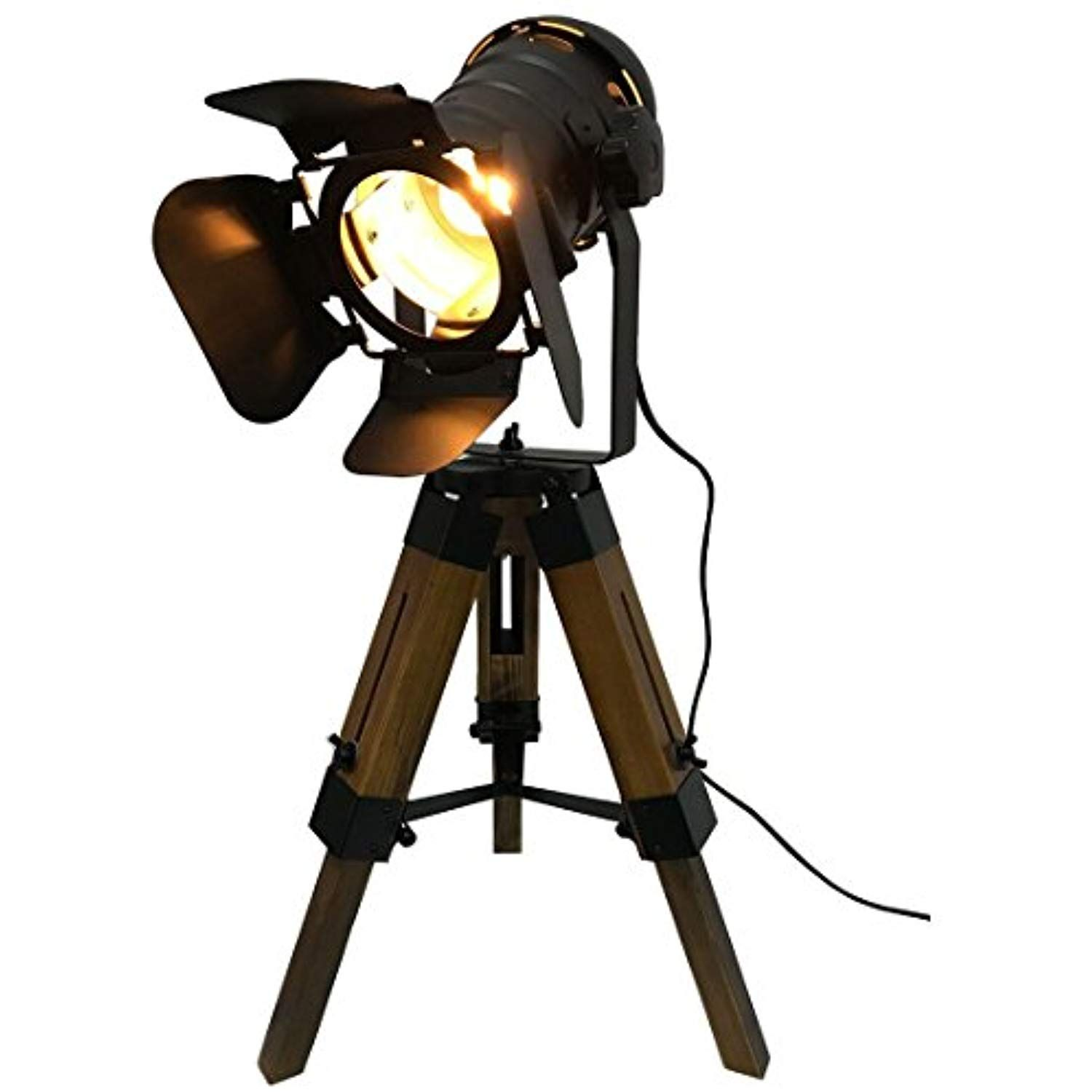 Nautical Black Tripod Spot Light Cinema