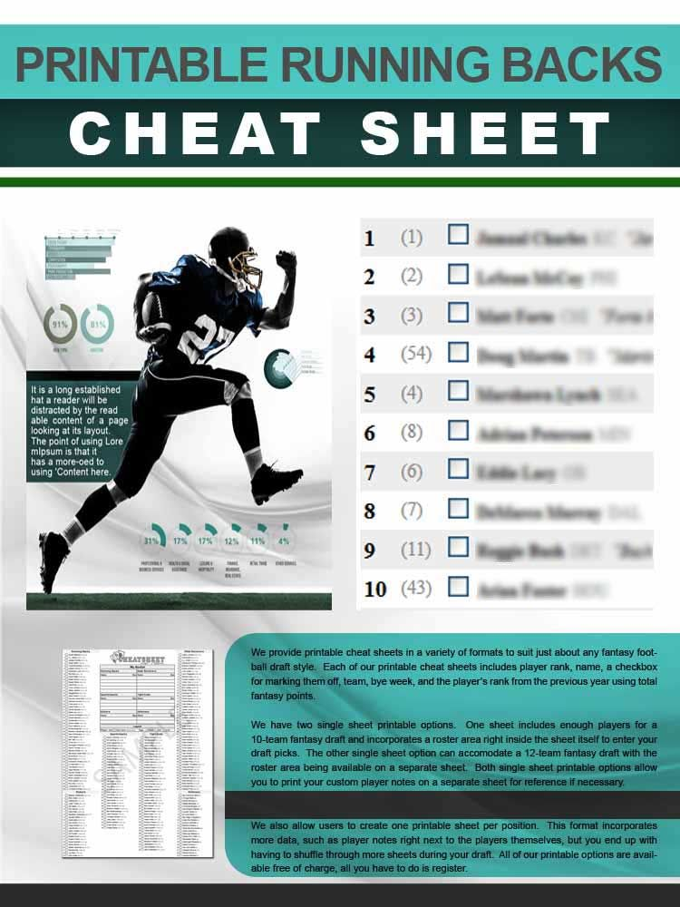 graphic regarding Free Printable Fantasy Football Cheat Sheets identify This no cost, printable working backs cheat sheet incorporates NFL