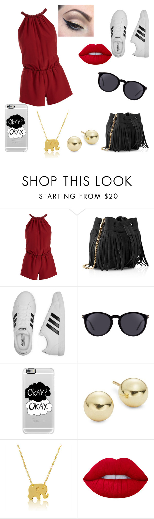 """Daily Outfit  #8"" by niaoffcal ❤ liked on Polyvore featuring Joie, Whistles, adidas, Yves Saint Laurent, Casetify, Lord & Taylor, Wish by Amanda Rose, Lime Crime and Mehron"