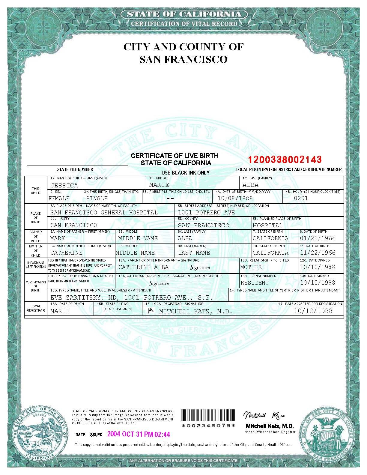 san francisco birth certificate template