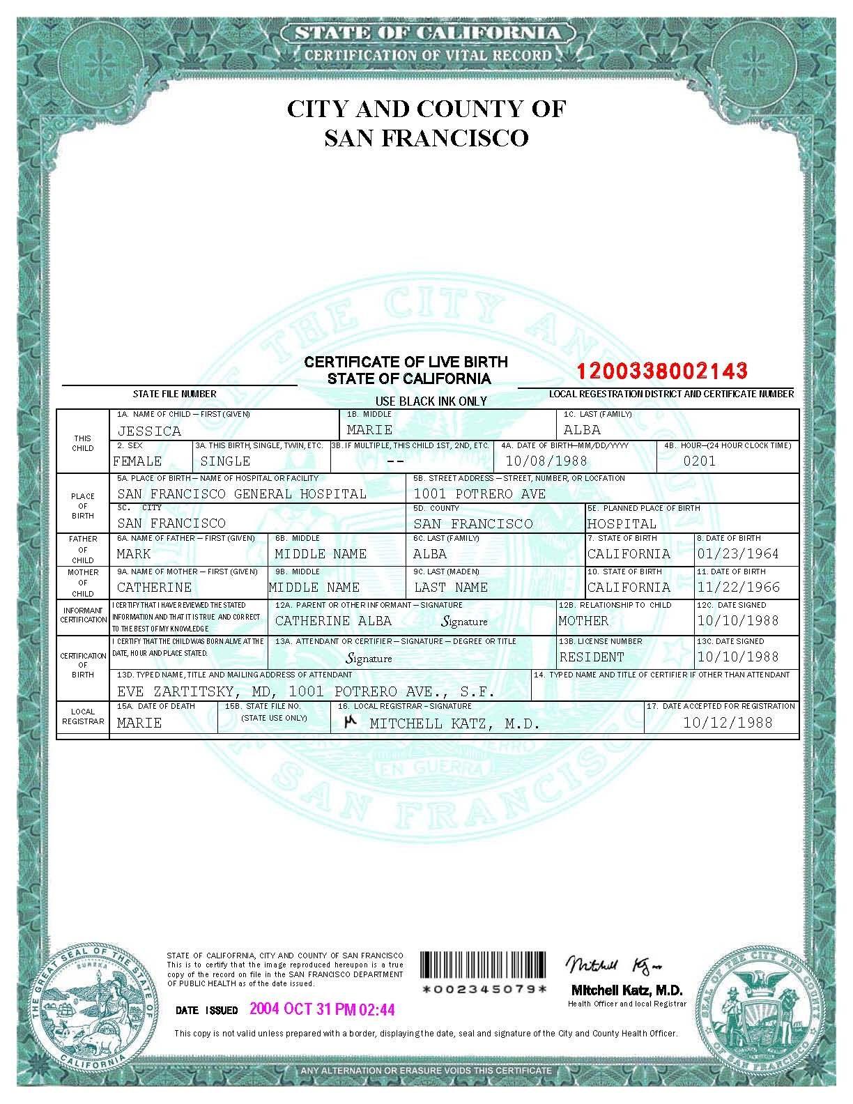 San Francisco Birth Certificate Template Birth Certificate
