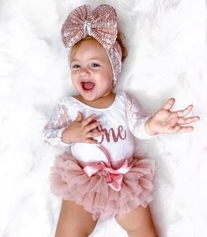 Kryssi Kouture First Birthday White Long Sleeve Lace Leo Sets with Rose Gold One #birthdayoutfit