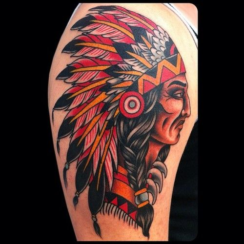 david bruehltraditional old school indian chief tattoo tattoos pinterest tatouage. Black Bedroom Furniture Sets. Home Design Ideas
