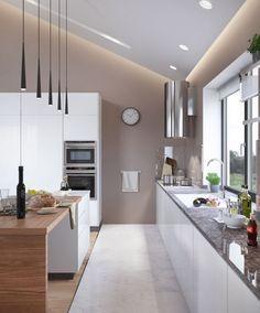 taupe wandfarbe abgeh ngte decke mit indirekter beleuchtung als effekt k che pinterest. Black Bedroom Furniture Sets. Home Design Ideas