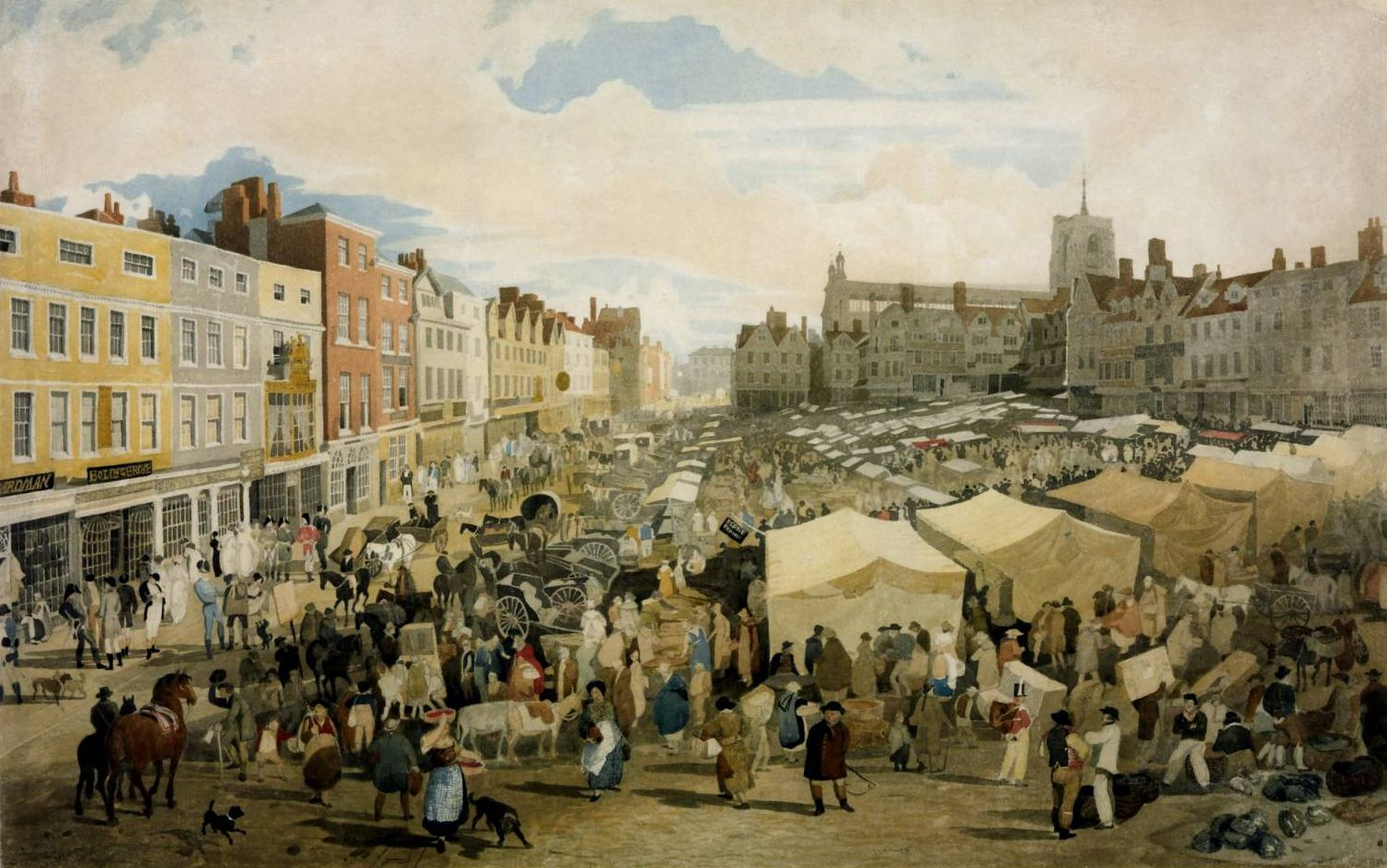 Watercolor art history - 1809 Norwich Market Place Watercolor Art Historynorfolkwatercolours19th