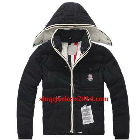 Moncler Outlet UK Branson Hooded Men Black Down Jackets