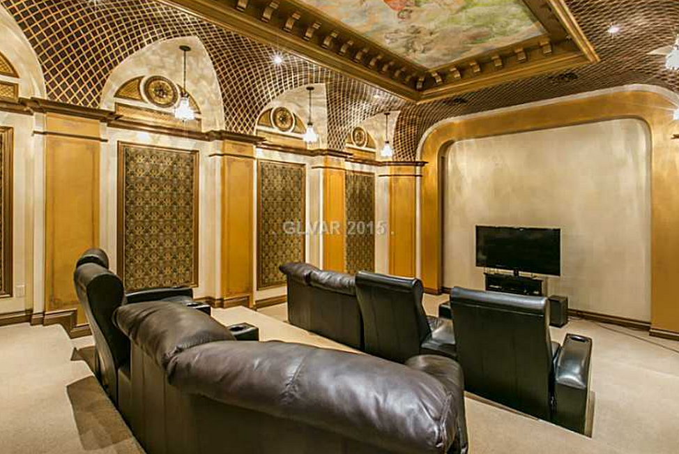 home theater tuscan style villa las vegas home theater installation projector and movie. Black Bedroom Furniture Sets. Home Design Ideas