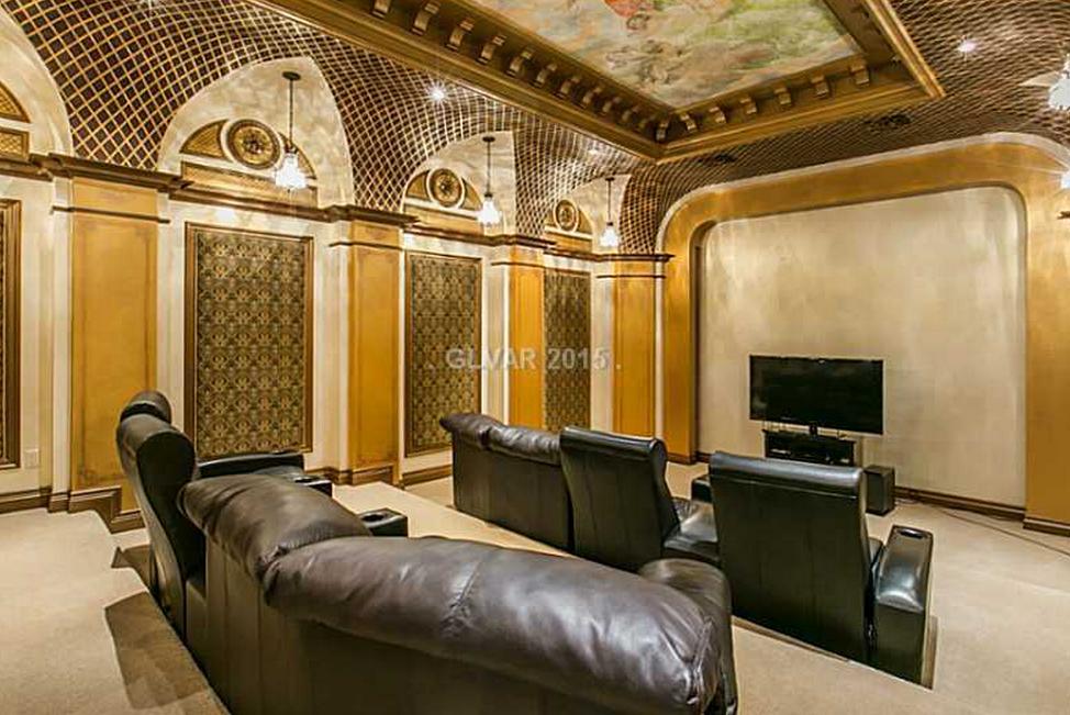 Home Theater Tuscan Style Villa Las Vegas