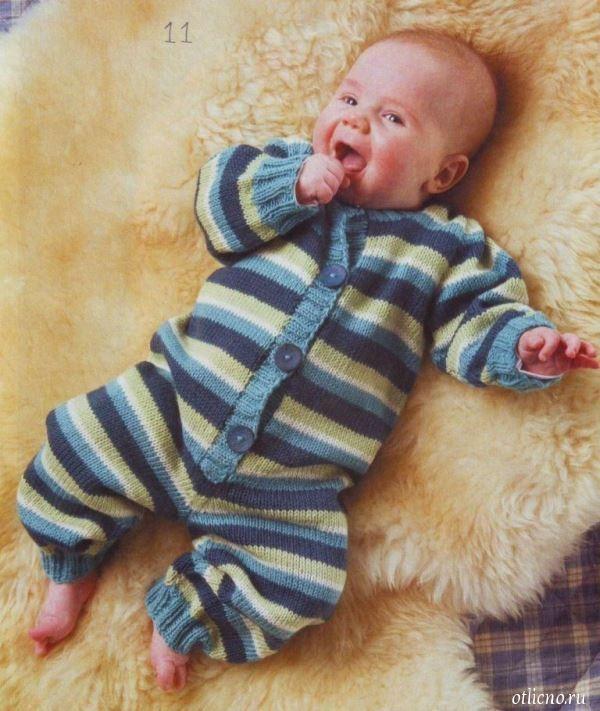 Вязание спицами комбинезона для малышей для начинающих