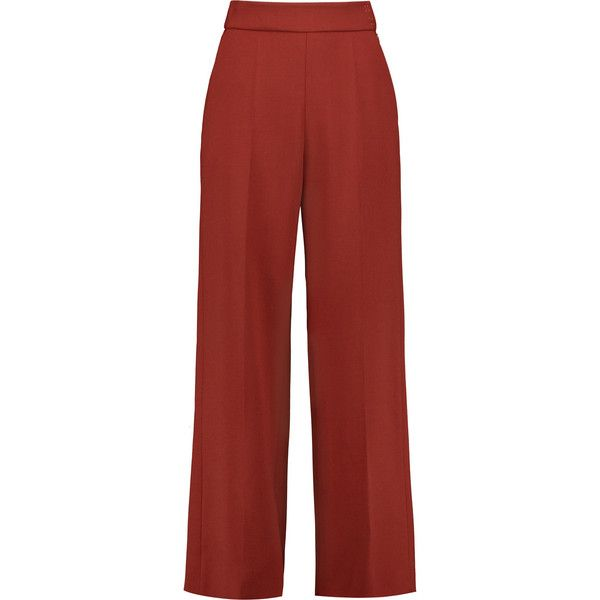 DELPOZO Crepe wide-leg pants (6,880 MXN) ❤ liked on Polyvore featuring pants, brick, high rise pants, high waisted wide leg pants, crepe pants, red wide leg trousers and zip pants
