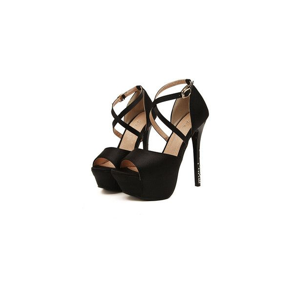 Black Platform Slingbacks High Heeled Pumps (200 VEF) ❤ liked on Polyvore featuring shoes, pumps, high heel platform pumps, high heel pumps, black stilettos, peep toe slingback pumps and peep-toe pumps