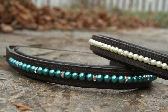 Fidelia Hand beaded English Browband with Glass by PearlBridleArt, $90.00 - For my horse friends, you should check out my friend's browband business!!! She's running a special for the holidays, so buy one for the horse lover in your life. #horsestuff #browband