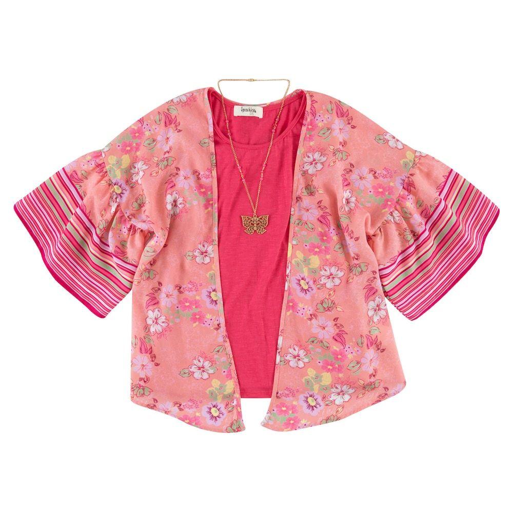 Speechless Girls Big Tee Shirt and Kimono