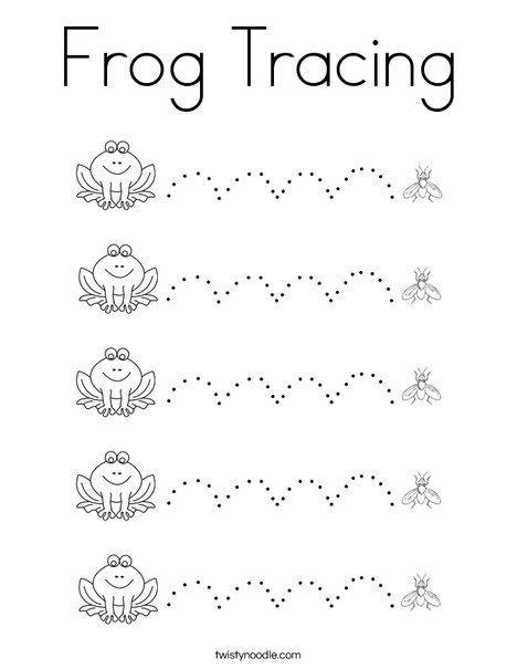 Frog Tracing Coloring Page Preschool Coloring Pages Kids Prints