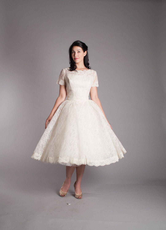 Vintage s short wedding dress lace s vintage style wedding