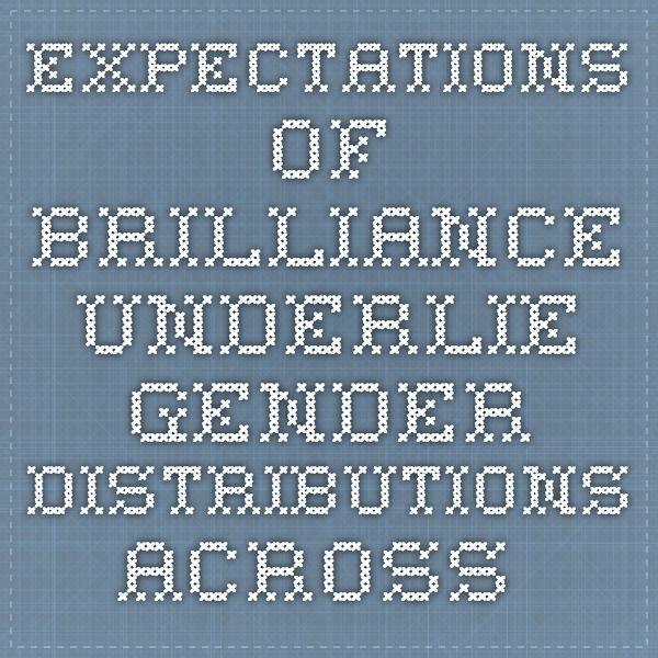 Expectations of brilliance underlie gender distributions across academic disciplines