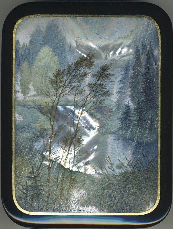 Kozlov Sergey, Fedoskino lacquer box, Rain