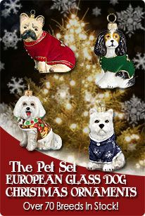 Beautiful dog and cat blown glass Christmas ornaments by Pet Set! www.aloveofdogs.com