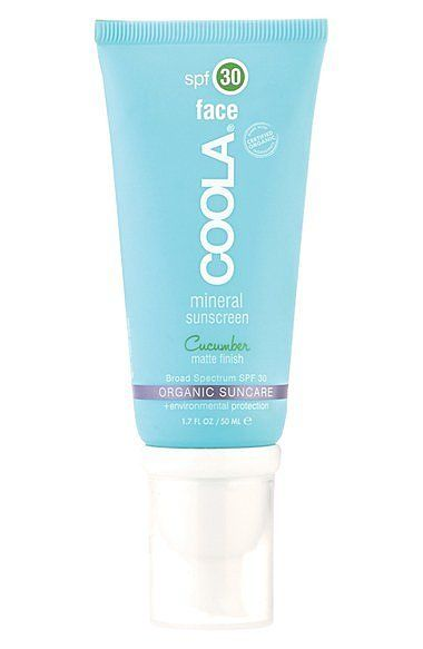 "Stop using ""sunscreen smells bad"" as an excuse not to wear SPF! Coola's mineral sunscreen has a refreshing cucumber scent, SPF 30, and a matte finish (perfect for those warm, oily days)."