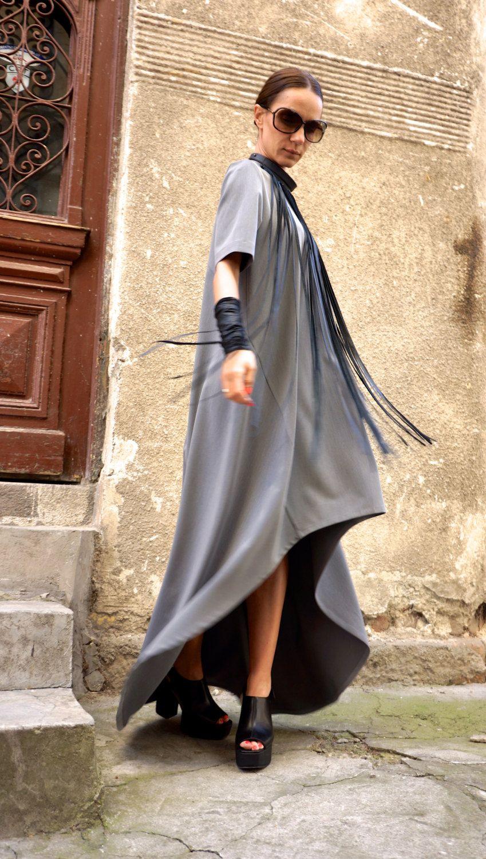 New collection maxi dress grey asymmetrical kaftan extravagant