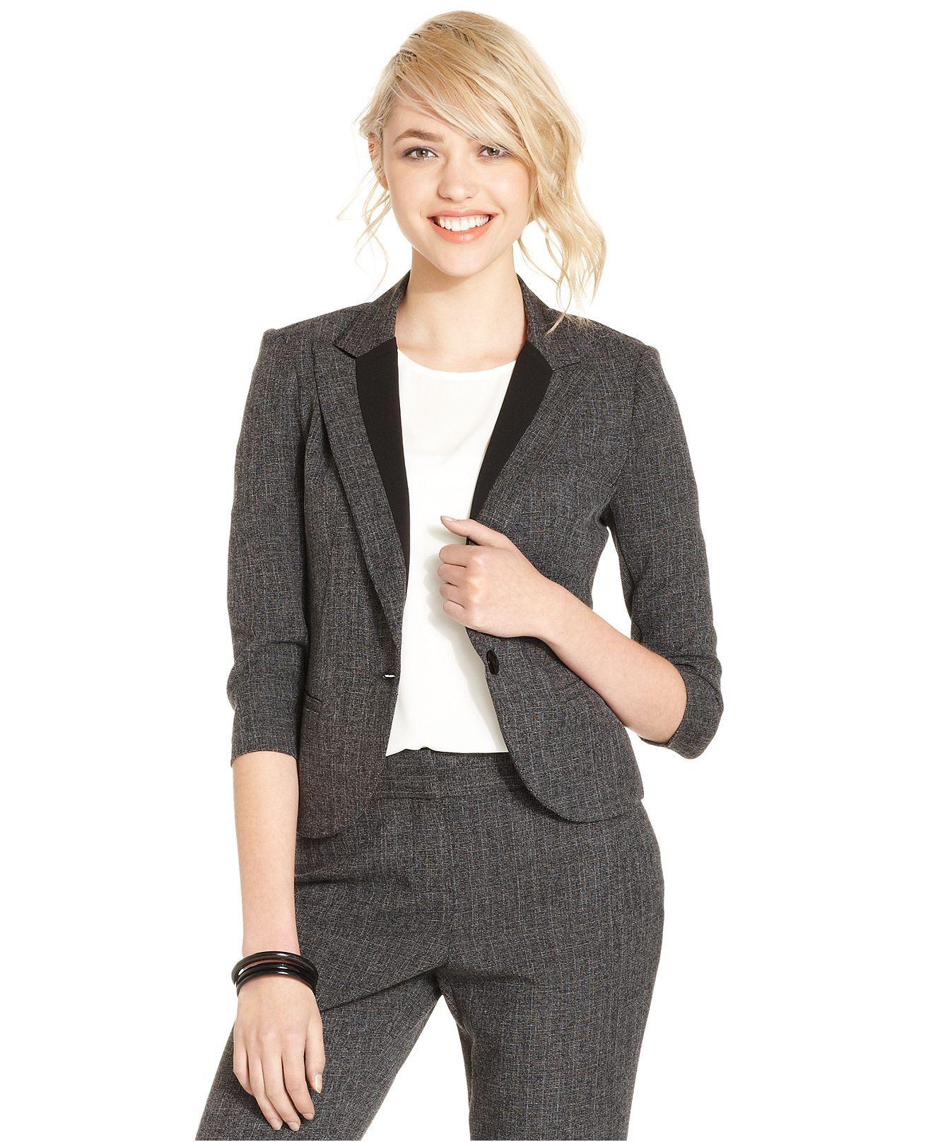 BCX Juniors Blazer, Three-Quarter Sleeve Tweed - Juniors Suits & Suit Separates - Macy's