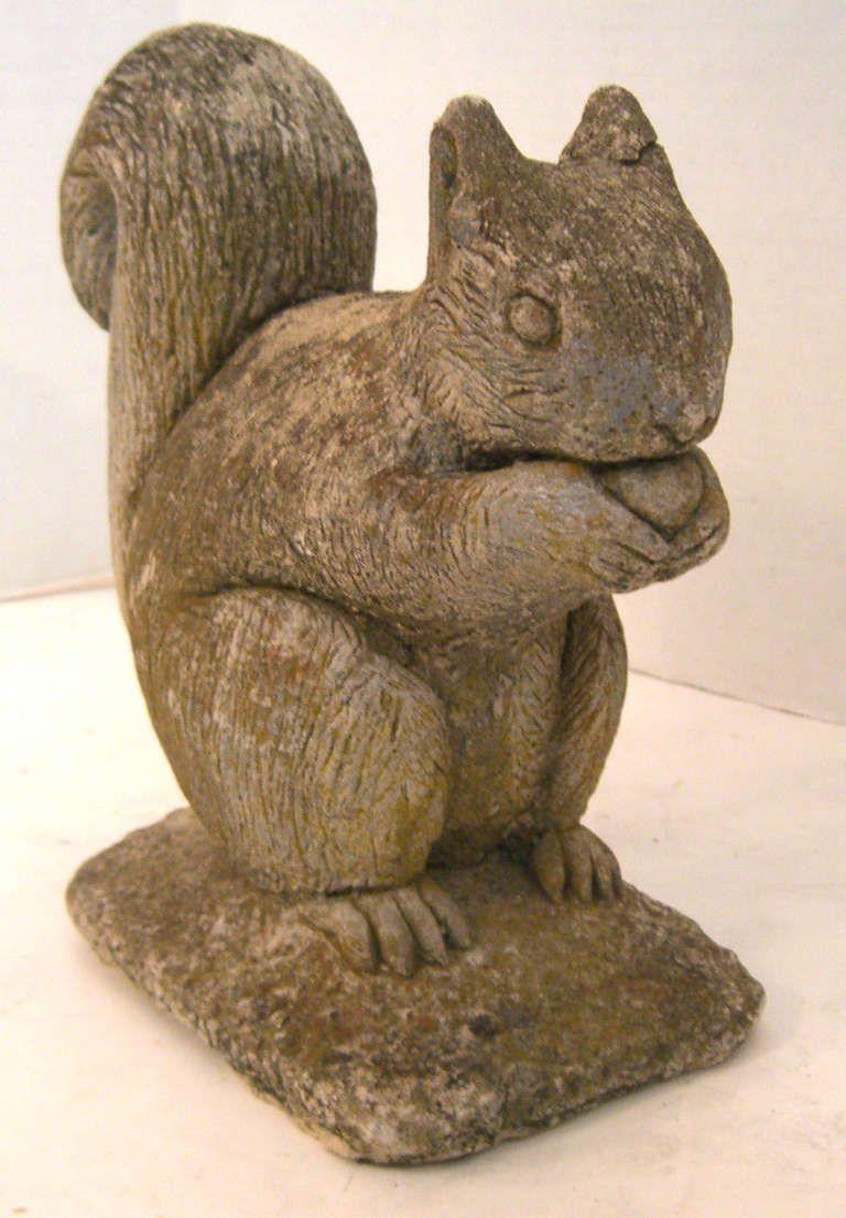 Belgian Cast Stone Squirrel Garden Ornament Animal