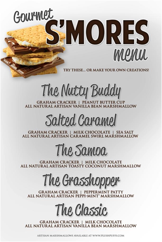 gorgeous menu for a wedding reception smores bar