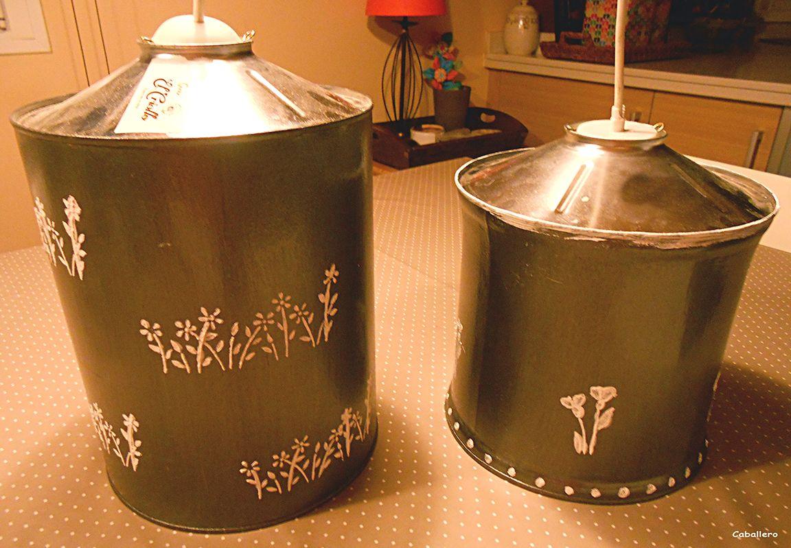 Lamparas hechas con latas de cafe manualidades en un - Lamparas para cafeteria ...