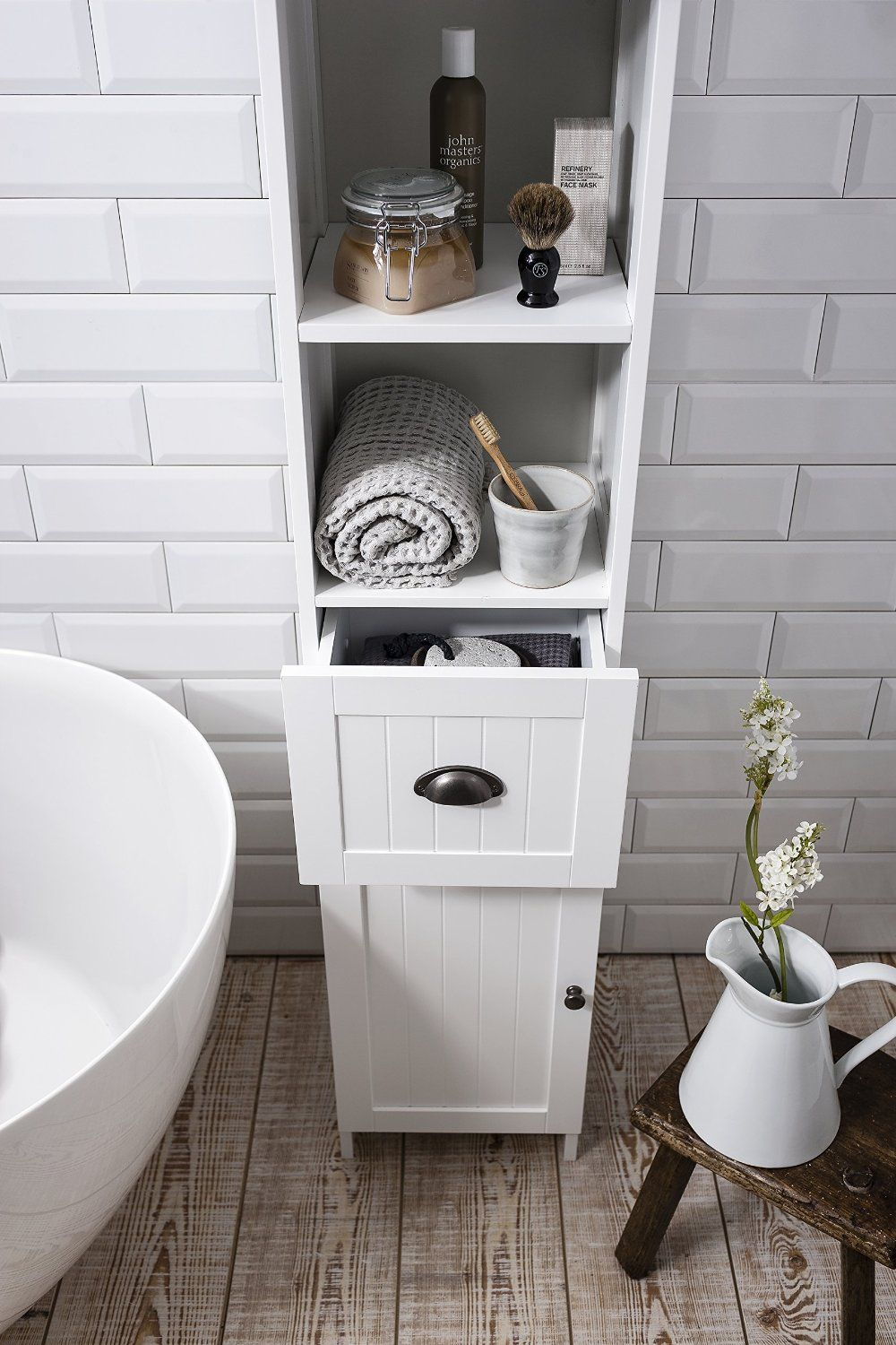 Stow Tallboy Bathroom Cabinet Hallway Storage Unit in White ...