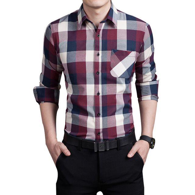 8c0dc50b56e3 2016 Spring autumn New Plaid Fashion Dress Men Shirt Slim Fit Long Sleeve  Plus Size 3XL Male Social Casual Shirts Camisa