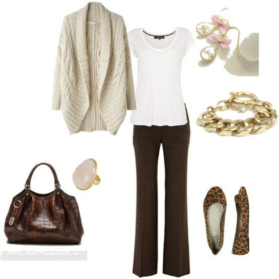 winter outfit | brown | pants + shirt + cardigan sweater + flats