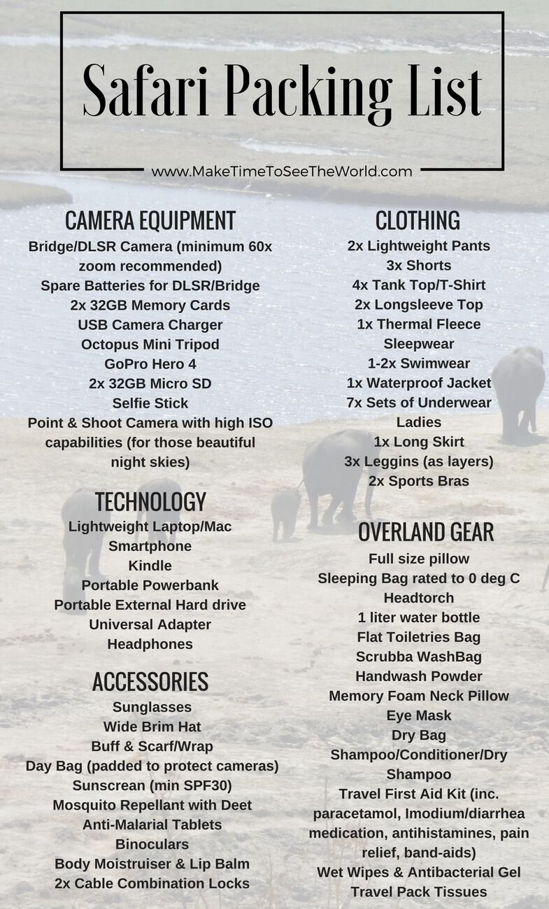 The Ultimate Overland Safari Packing List  Camera Equipment