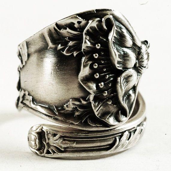 Art Nouveau Inspired California Poppy By Mason Larose: Poppy Ring, Sterling Silver Spoon Ring, Art Nouveau Ring