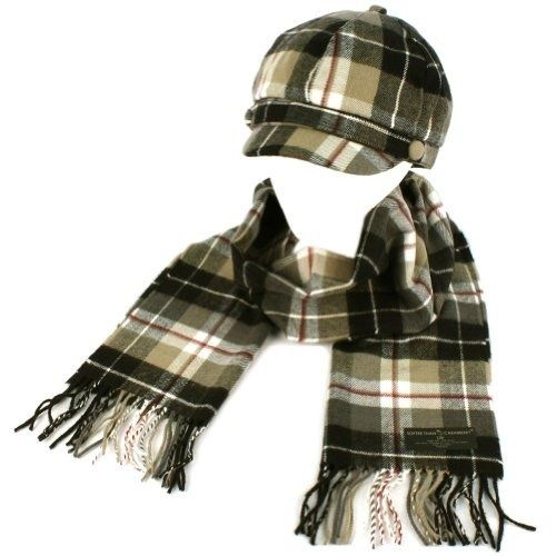 Ladies Winter Tartan Plaid Newsboy Cap Hat Softer Cashmere? Scarf Gift Set Black $27.95