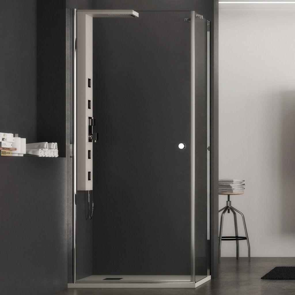 Box doccia con Porta a battente e lato fisso, trasparente